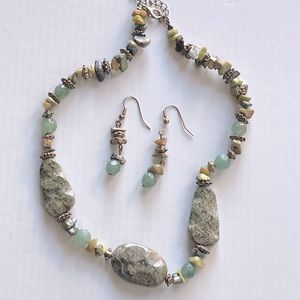 One of a Kind Stone Necklace and Earrings